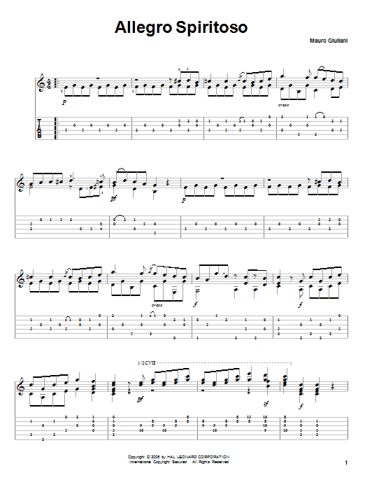 Allegro Spiritoso sheet music for guitar solo by Mauro Giuliani