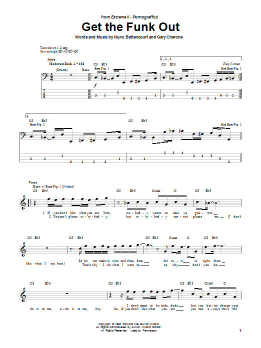 Get The Funk Out sheet music for bass (tablature) (bass guitar) by Nuno Bettencourt