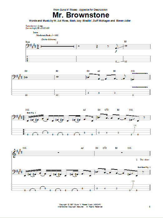 Mr. Brownstone sheet music for bass (tablature) (bass guitar) by Axl Rose