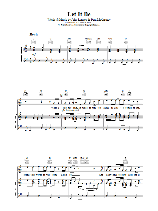 Let It Be sheet music for voice, piano or guitar by Paul McCartney