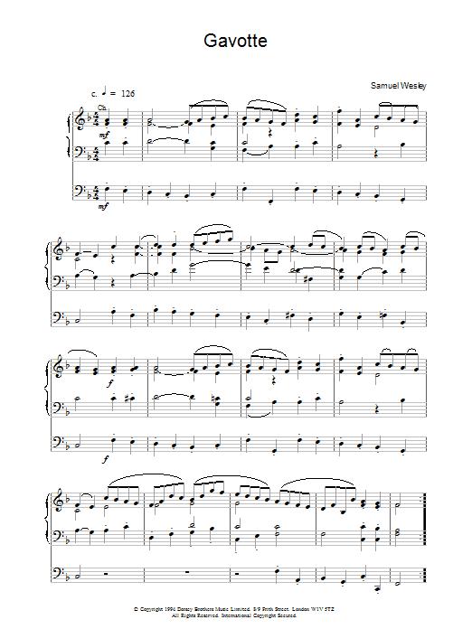 Gavotte sheet music for organ solo by Samuel Sebastian Wesley
