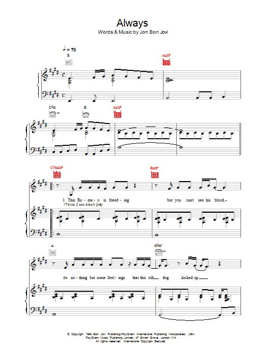Always sheet music for voice, piano or guitar by Bon Jovi