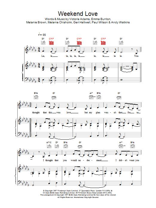 Weekend Love sheet music for voice, piano or guitar by Victoria Adams