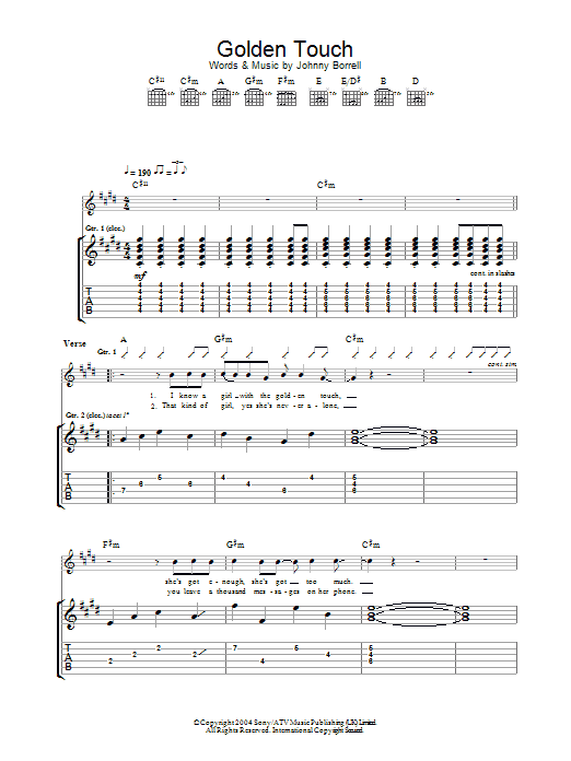 Golden Touch sheet music for guitar solo (tablature) by Johnny Borrell