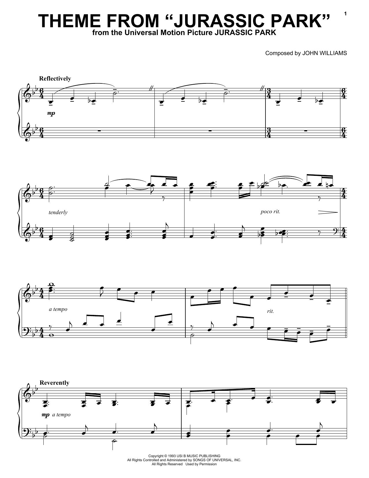 sheet music for jurassic park theme on piano