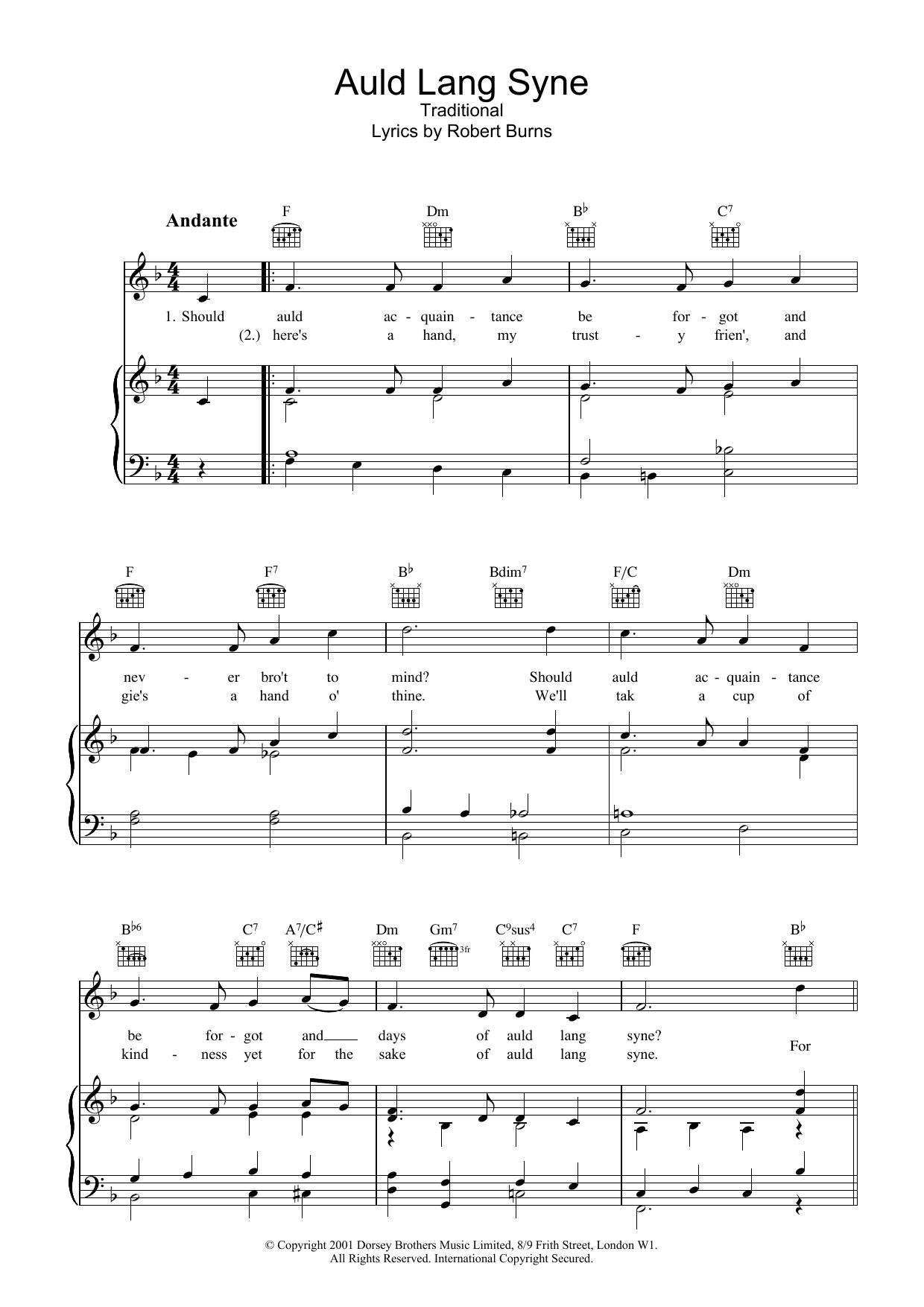 Robert Burns - Auld Lang Syne