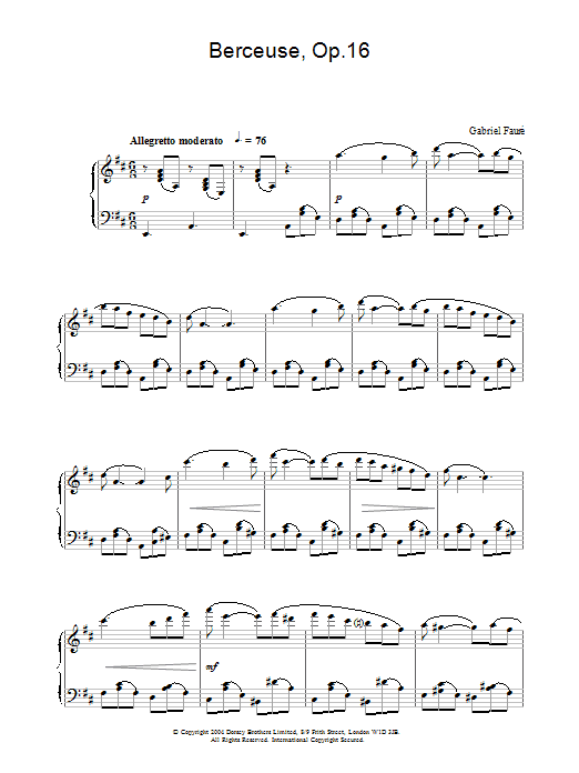 Berceuse, Op.16 sheet music for piano solo by Gabriel Faure