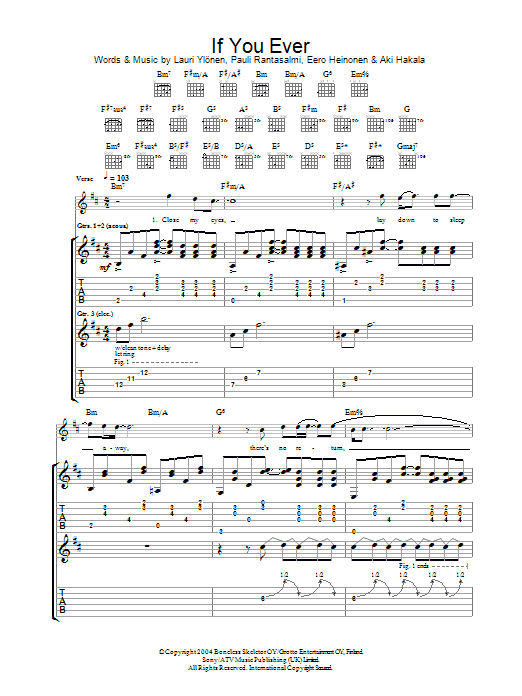 If You Ever sheet music for guitar solo (tablature) by Pauli Rantasalmi