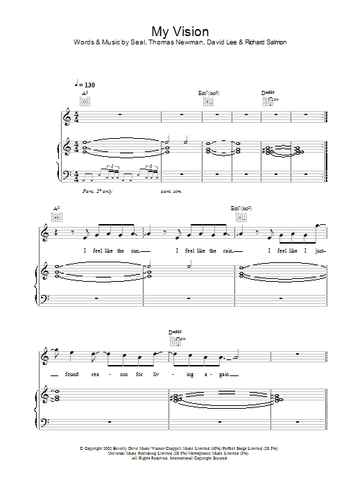 My Vision sheet music for voice, piano or guitar by Thomas Newman