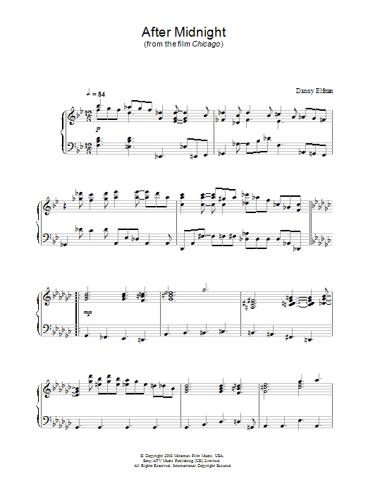 After Midnight sheet music for piano solo by Danny Elfman