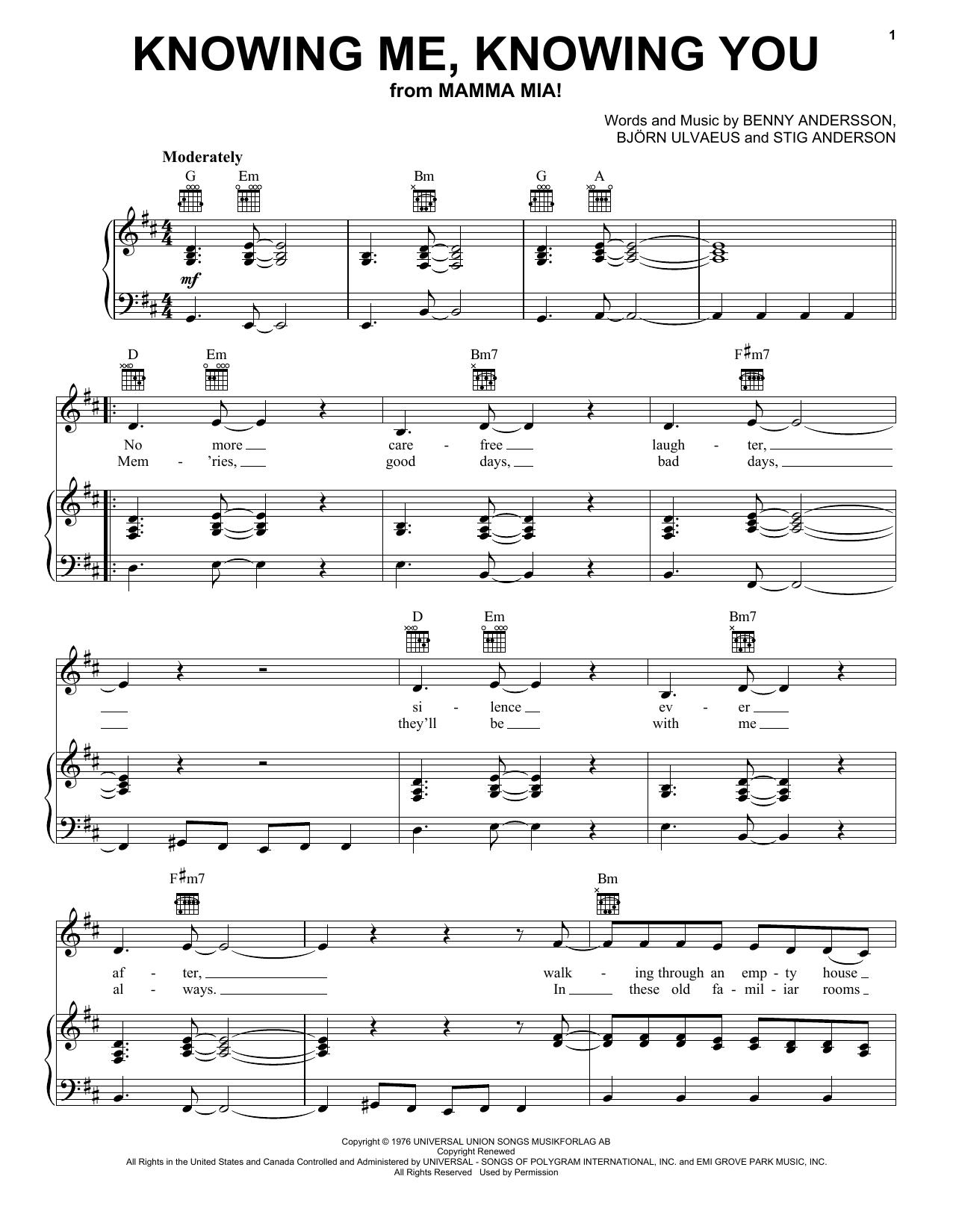 Partition piano Knowing Me, Knowing You de ABBA - Piano Voix Guitare (Mélodie Main Droite)