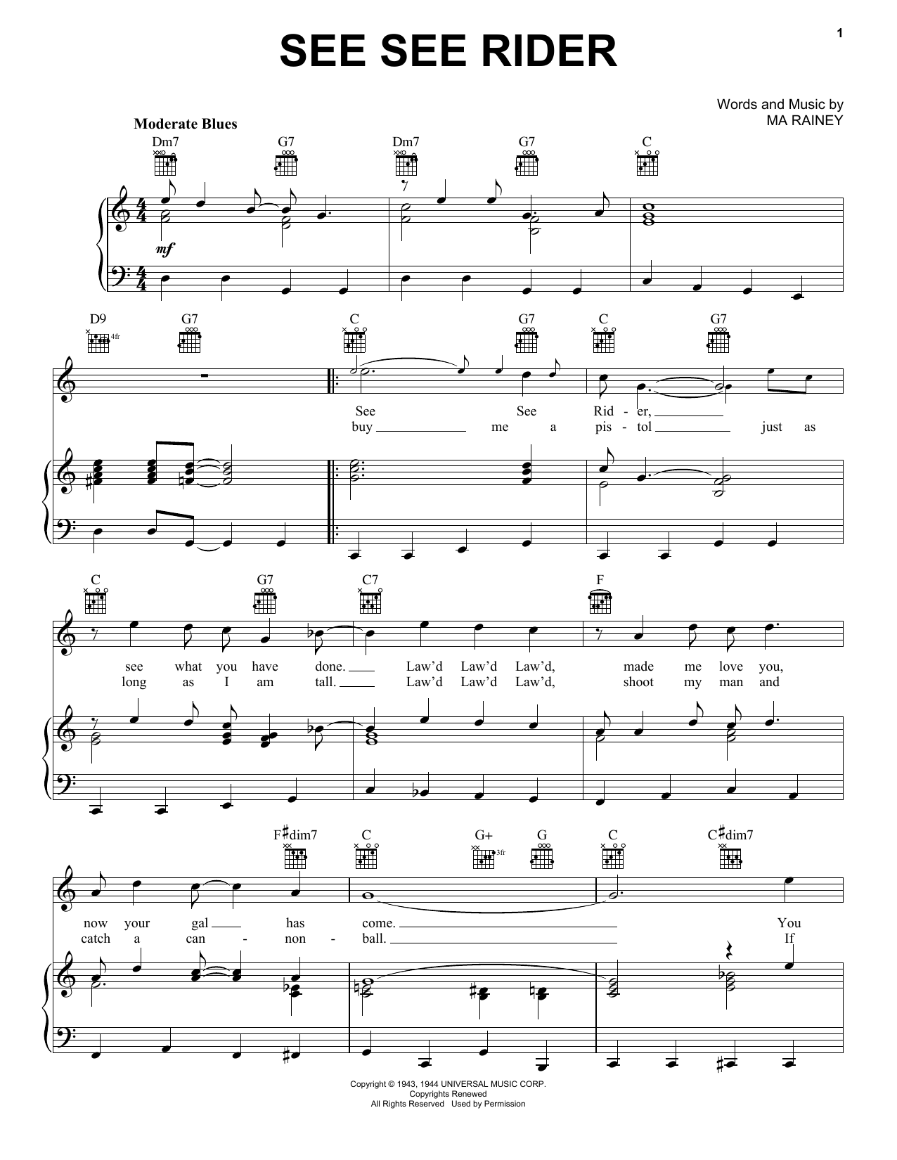 See See Rider sheet music for voice, piano or guitar by Ma Rainey