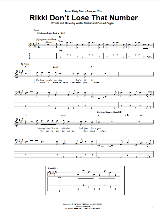 Tablature guitare Rikki Don't Lose That Number de Steely Dan - Tablature Basse