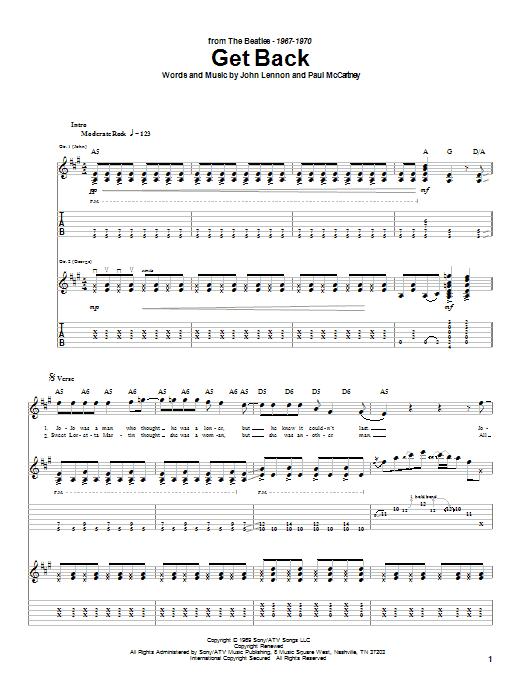 Tablature guitare Get Back de The Beatles - Tablature Guitare