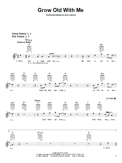 Tablature guitare Grow Old With Me de John Lennon - Autre