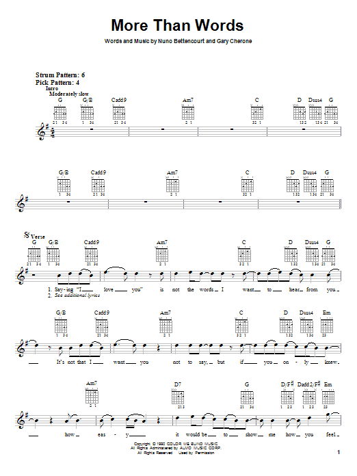 More Than Words sheet music for guitar solo (chords) by Nuno Bettencourt