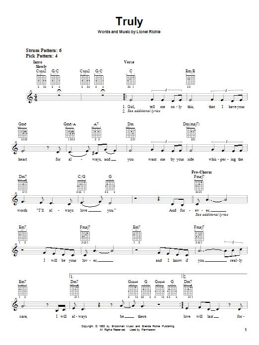 Tablature guitare Truly de Lionel Richie - Tablature guitare facile