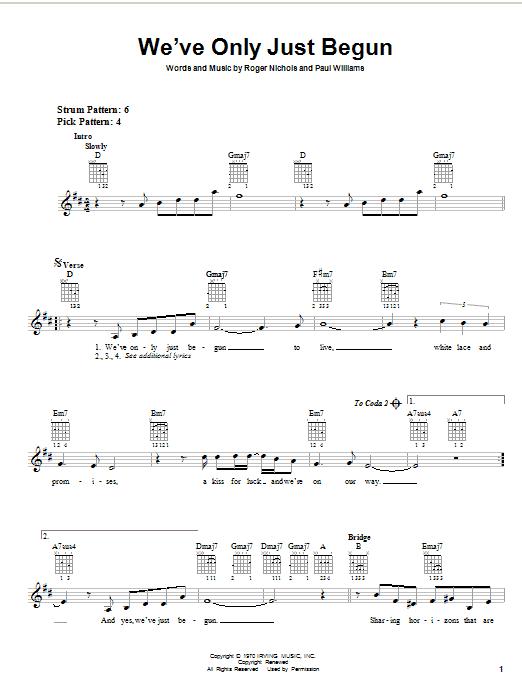 Tablature guitare We've Only Just Begun de Carpenters - Autre