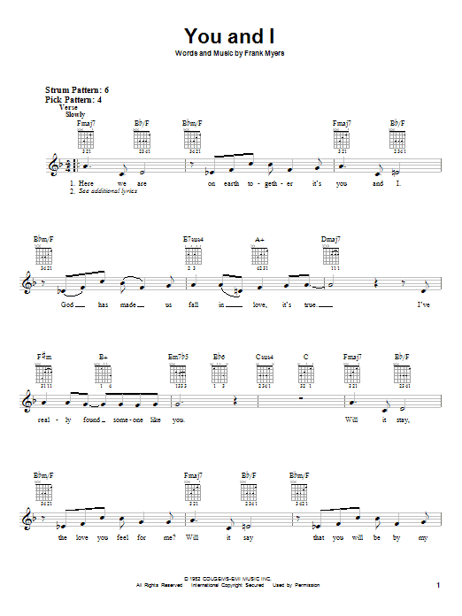 You And I sheet music for guitar solo (chords) by Frank Myers