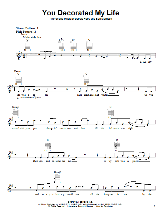 Tablature guitare You Decorated My Life de Kenny Rogers - Autre