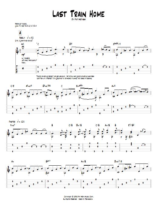 Tablature guitare Last Train Home de Pat Metheny - Tablature Guitare