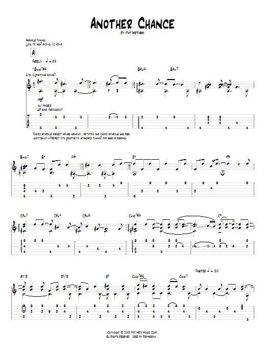Tablature guitare Another Chance de Pat Metheny - Tablature Guitare