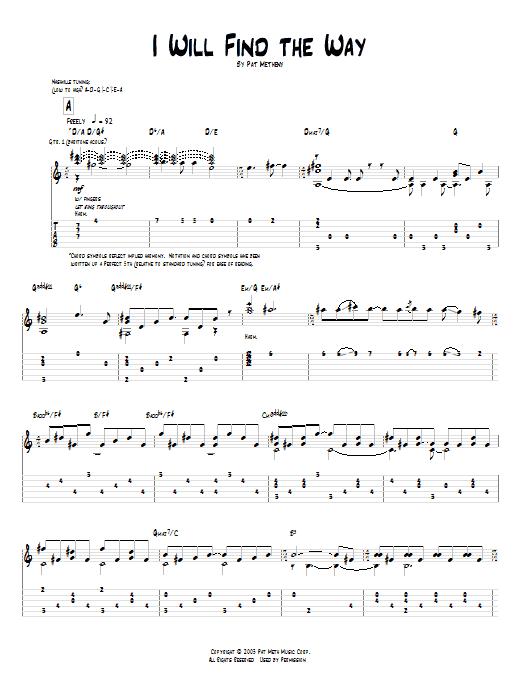 Tablature guitare I Will Find The Way de Pat Metheny - Tablature Guitare