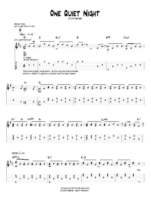 Tablature guitare One Quiet Night de Pat Metheny - Tablature Guitare