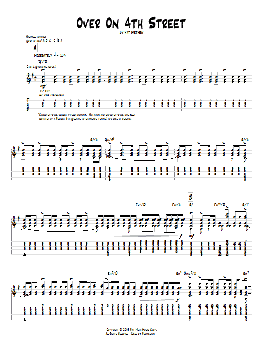 Tablature guitare Over On 4th Street de Pat Metheny - Tablature Guitare