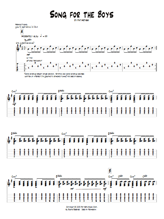 Tablature guitare Song For The Boys de Pat Metheny - Tablature Guitare