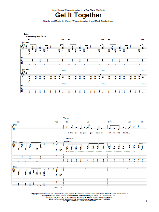 Get It Together sheet music for guitar solo (tablature) by Marti Frederiksen