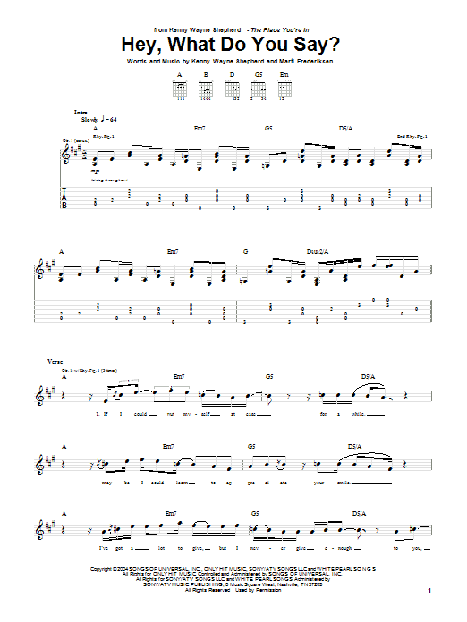Tablature guitare Hey, What Do You Say? de Kenny Wayne Shepherd - Tablature Guitare