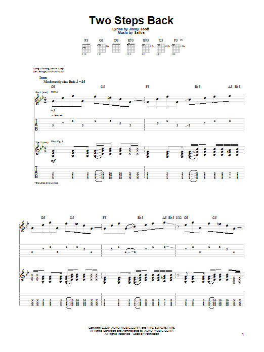 Tablature guitare Two Steps Back de Saliva - Tablature Guitare