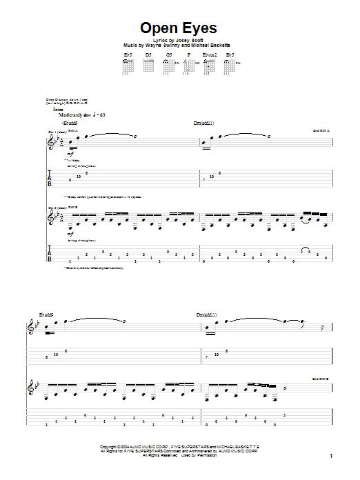 Tablature guitare Open Eyes de Saliva - Tablature Guitare