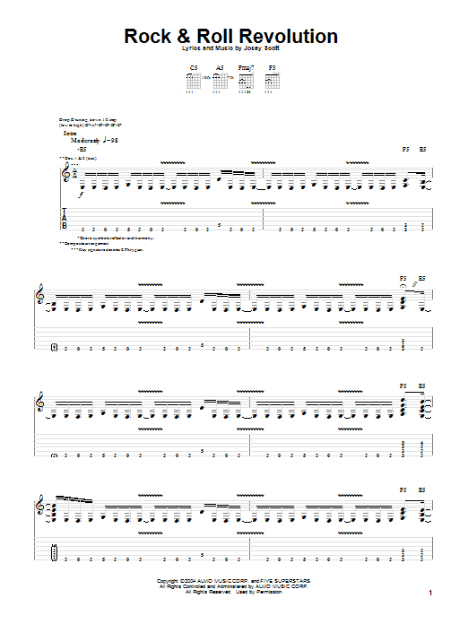 Rock and Roll Revolution sheet music for guitar solo (tablature) by Josey Scott