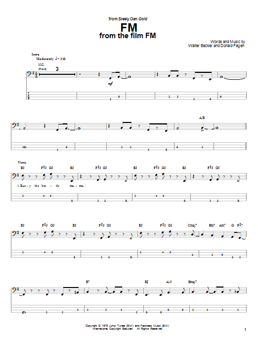 FM sheet music for bass (tablature) (bass guitar) by Walter Becker