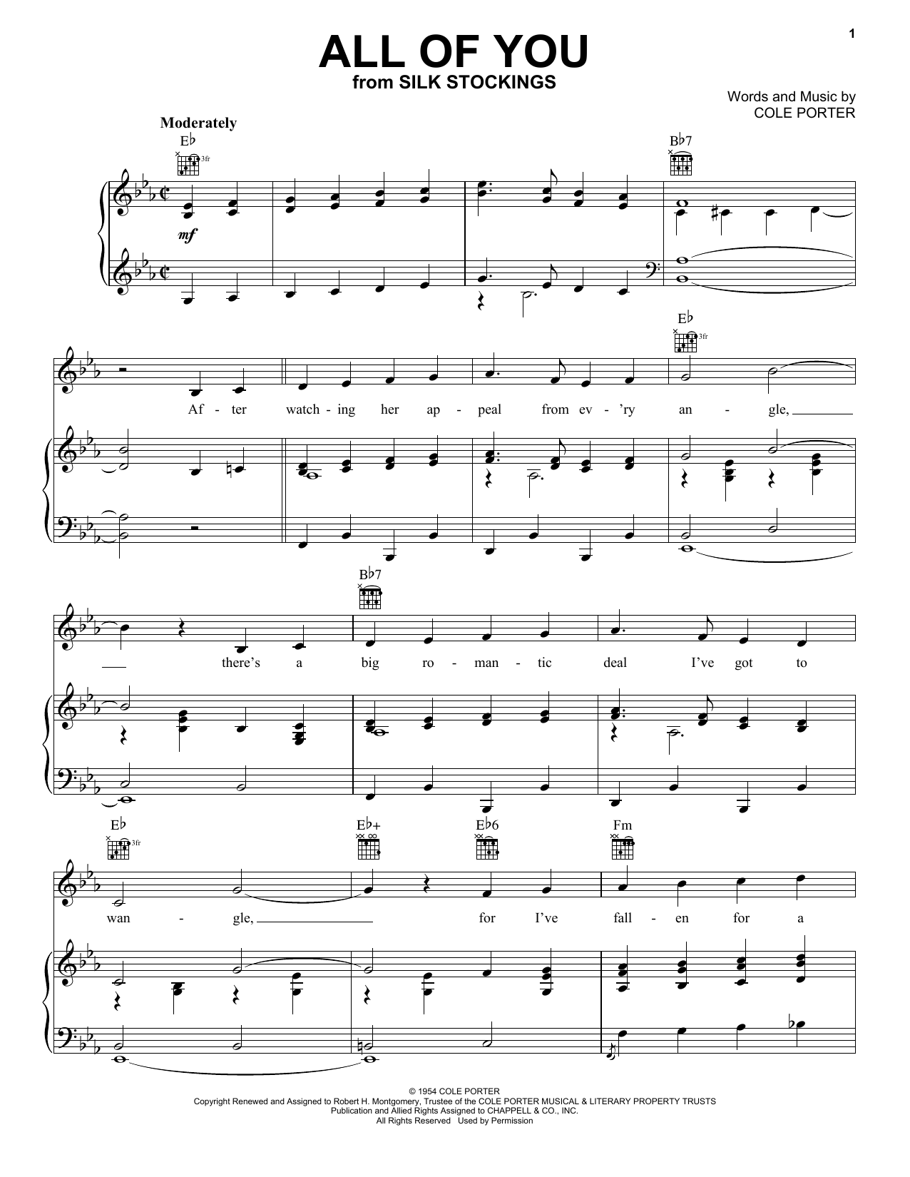 All Of You sheet music for voice, piano or guitar by Cole Porter