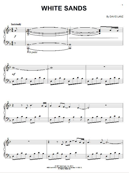 Partition piano White Sands de David Lanz - Piano Solo