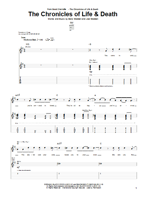 Tablature guitare The Chronicles Of Life & Death de Good Charlotte - Tablature Guitare