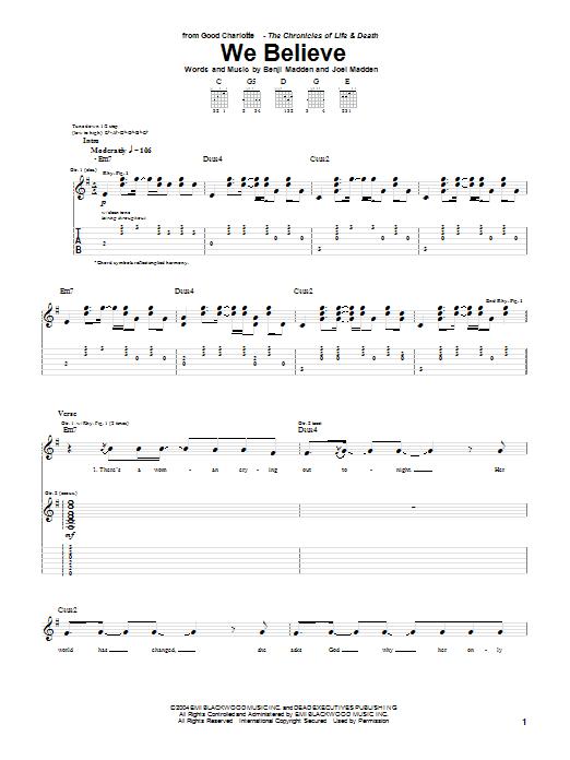 Tablature guitare We Believe de Good Charlotte - Tablature Guitare