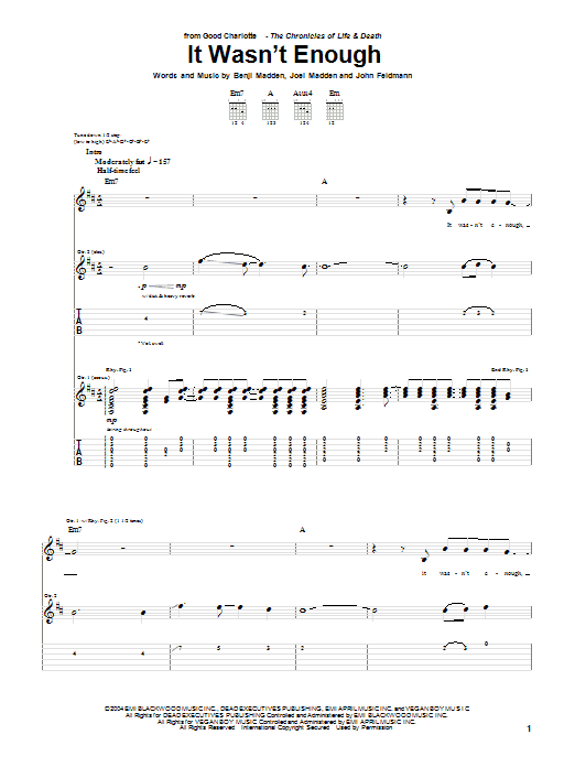 Tablature guitare It Wasn't Enough de Good Charlotte - Tablature Guitare