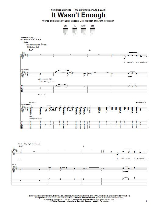 It Wasn't Enough sheet music for guitar solo (tablature) by John Feldmann