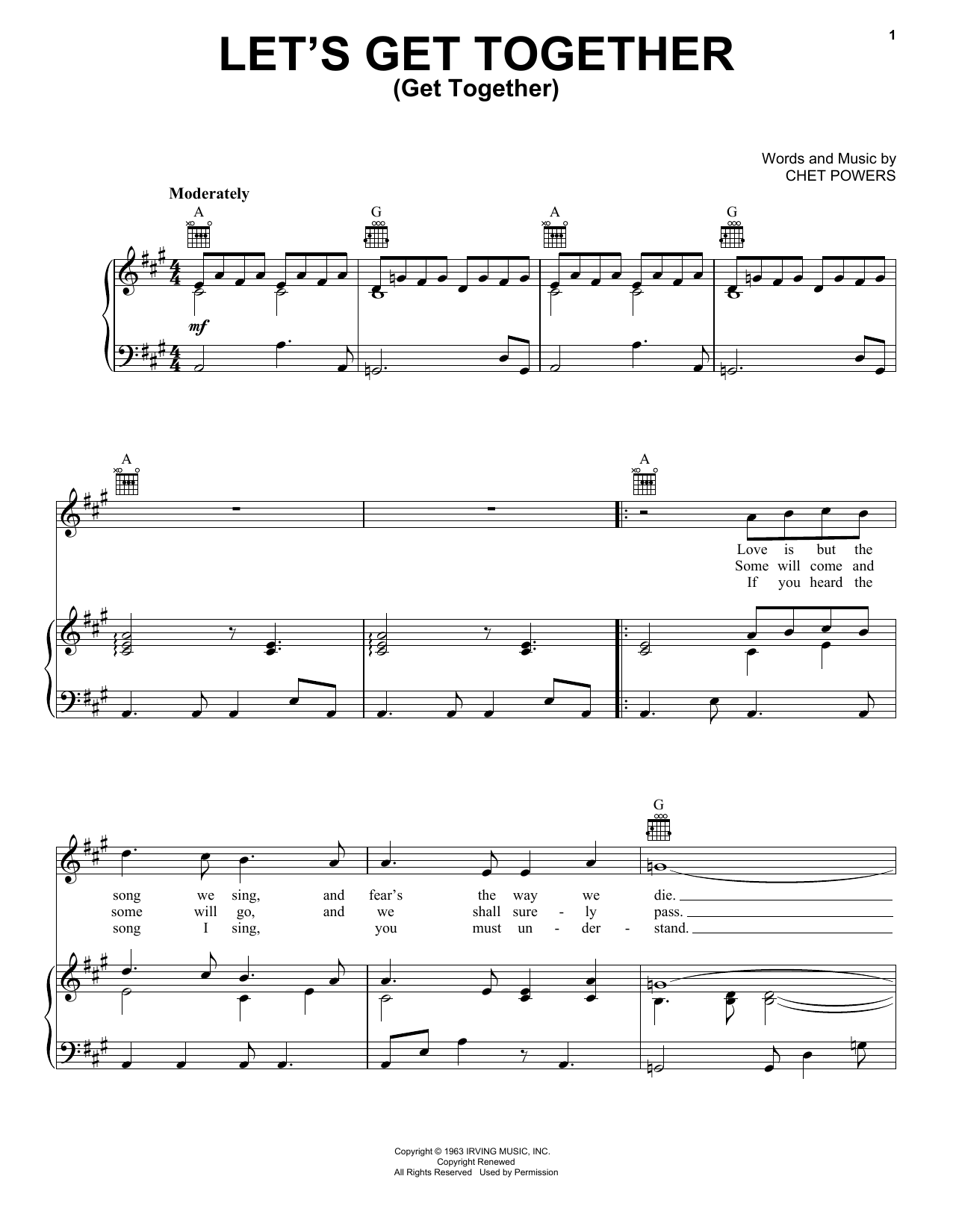 Let's Get Together sheet music for voice, piano or guitar by Chet Powers