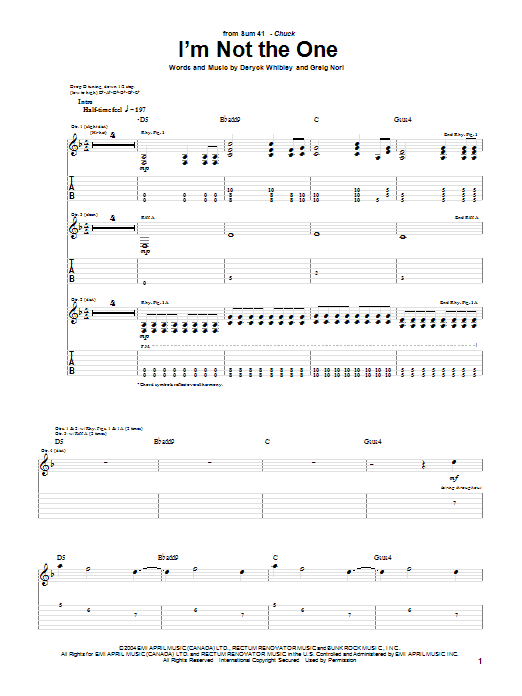 Tablature guitare I'm Not The One de Sum 41 - Tablature Guitare
