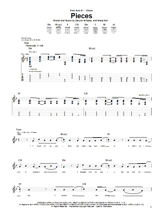 Tablature guitare Pieces de Sum 41 - Tablature Guitare