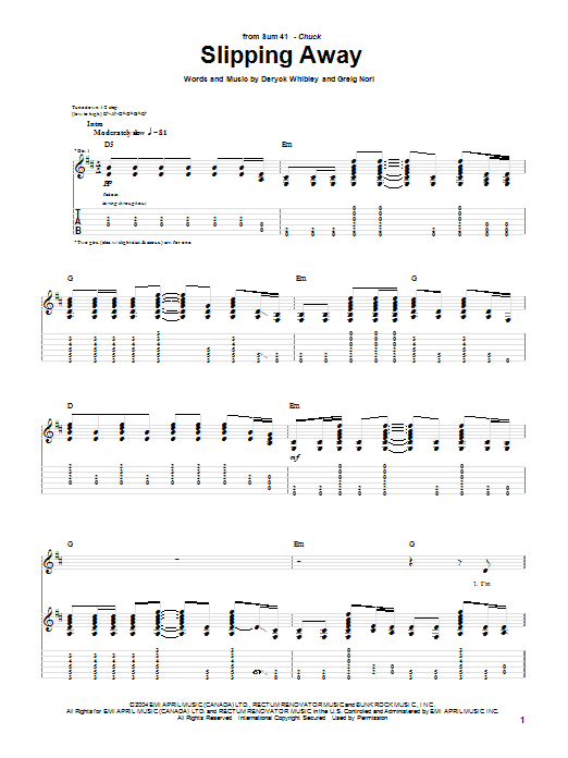 Tablature guitare Slipping Away de Sum 41 - Tablature Guitare