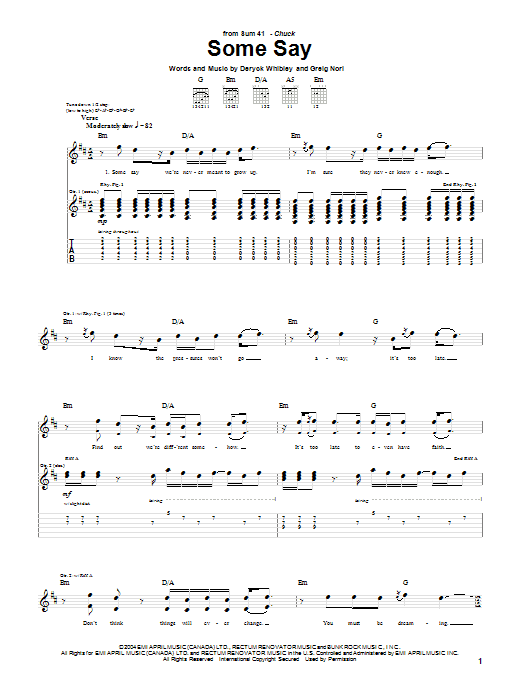 Tablature guitare Some Say de Sum 41 - Tablature Guitare