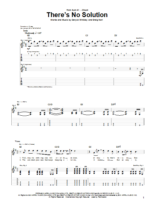 Tablature guitare There's No Solution de Sum 41 - Tablature Guitare