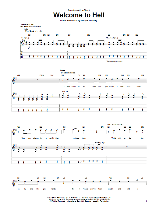 Tablature guitare Welcome To Hell de Sum 41 - Tablature Guitare