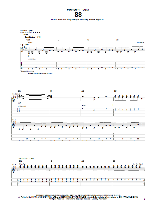 Tablature guitare 88 de Sum 41 - Tablature Guitare